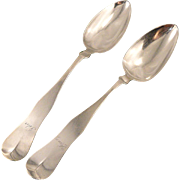 SOLD Pair Antique 1838 Farrington & Hunnewell Boston Coin Silver Serving Spoons Tablespoons Id