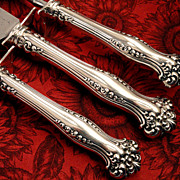 Rare 3 Pc. Antique Victorian 1901 AVON Large Roast Carving Set Art Nouveau Silver Plate by 184