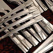 Oneida Nobility CAPRICE ART DECO Vintage 1937 Silver Plate Flatware Silverware Set Grille ...