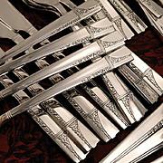 Oneida Nobility CAPRICE ART DECO Vintage 1937 Silver Plate Flatware Silverware Set Grille Vian