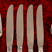 SOLD MINTY 1847 Rogers Bros FIRST LOVE Set 4 Dinner Knives Vintage 1937 Art Deco Silver Plate