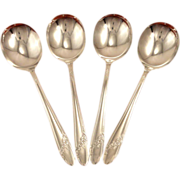 Set 4 Oneida Tudor Plate QUEEN BESS II Vintage 1946 Round Bowl Gumbo Soup Spoons Silver Plate