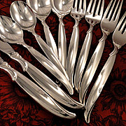 1847 Rogers FLAIR Silverware Set Vintage 1956 Silver Plate Flatware Dinner Service for 4, 8, 1