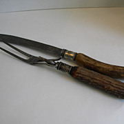 SOLD Antique Antler and Sterling Silver Carving Knife Set - 19th Century