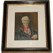 Mid-19th Century Original George Baxter Oil Portrait Print of the Duke of Wellington with ...