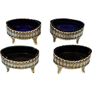 Early 19th Century Scottish Sterling Silver and Gilt Salt Cellars with Original Cobalt Glass L
