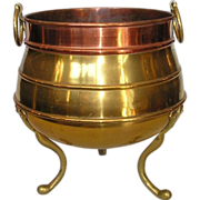 SOLD 19th Century English Brass & Copper Jardinière