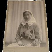 Original Photograph of Grand Duchess Olga Alexendrovna in Nurse's Uniform Dated 1916