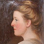 Original Unframed German Oil on Canvas Portrait of a Lady by Jakob Muller