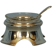 19th Century Hungarian 800 Silver Salt Cellar with Original Clear Glass Liner