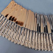 Twenty-four English Sterling Silver-handled Butter Spreaders in King's Pattern Dated 1962