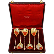 Mid-19th Century Set of Six German 800 Fine Silver Spoons in Original Gilt-tooled ...