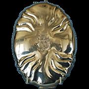19th Century German Crested Travel Mirror in Hand-hammered 800 Fine Silver Case