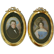 Early 19th Century Pair of Hand-painted Miniatures in Gold-leaf Oval Frames