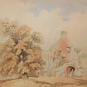 19th Century Scottish Signed Watercolor of Otterstone Castle