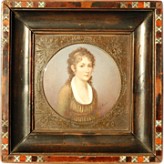 SOLD Early 19th Century French Signed Miniature of a Young Woman