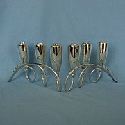 Vintage Pair of Mexican Sterling Silver Candelabra by Gonzolo W. Moreno