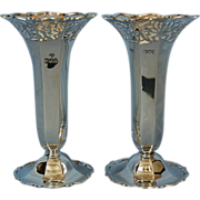 SOLD Pair of English Edward VII Sterling Silver Vases by Goldsmiths & Silversmiths Co.