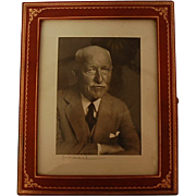 Vintage Signed Karsh Photograph in Leather Frame