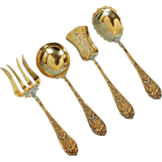 Turn of the Century Set of Four French 950 Fine Silver Gilt Serving Pieces in Original Box by
