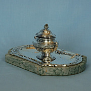 SOLD 19th Century French 950 Fine Silver Ink Stand by Louis Ravinet & Charles Denfert
