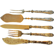 Five Late 19th Century German 800 Fine Silver-handled Serving Pieces
