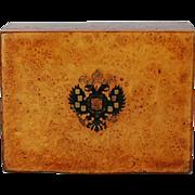 19th Century Imperial Russian Inlaid Carpathian Elm Box from Estate of Grand Duchess Olga ...