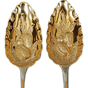 Early 19th Century English Sterling Silver Berry Spoons by Solomon Royes & Richard Crossley