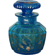 19th Century Bohemian Gilt Blue Glass Bottle with Stopper