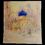 Original Signed Watercolour of Russian Church by Grand Duchess Olga Alexandrovna