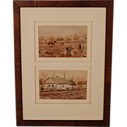 Framed Pair of Signed Watercolours by Grand Duchess Olga Alexandrovna