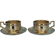 Pair Early 20th Century French 950 Fine Silver Breakfast Cups & Saucers by Edmond Molle