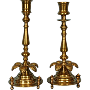 19th Century Pair Russian Brass Candlesticks