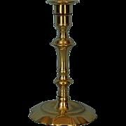 18th Century English Brass Petal Base Candlestick