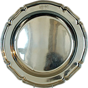 Large Antique German 800 Fine Silver Crested Serving Dish or Salver by J.C. Osthues, Münster,