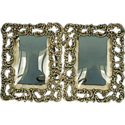 19th Century American Sterling Silver Double Photograph Frame with Convex Glass