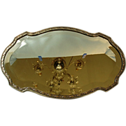SOLD Antique French Silverplate Beveled Mirror Plateau