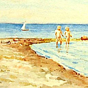 Original Signed Watercolor on Paper of Her Two Sons on the Beach in Denmark by Grand Duchess O