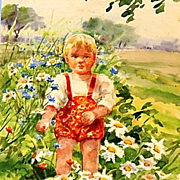 SALE PENDING Original Signed Watercolor on Paper of Guri in a Field of Wildflowers by Grand Du