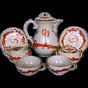 Early 20th Century German Porcelain Coffee Set by Thomas Porzellanfabrik in Saxon Court Red ..