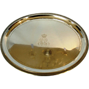 Antique German 800 Silver Crested Presentation Tray with Engraved Names of Pomeranian Aristroc