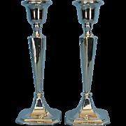 Vintage Pair George V Sterling Silver Candlesticks by H. Williamson Ltd.
