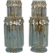 Early 19th Century Pair English Cut Glass and Ormolu Two Tier Regency Lustres in the ...