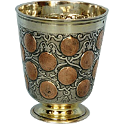 18th Century German Parcel-Gilt Coin-Set Beaker or Munzbecher