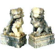 SOLD Pair of Chinese Grey Mottled Soap Stone Foo Dogs, Circa 1920