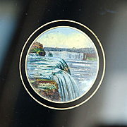 Antique Reverse Painted-on-Glass Miniature of Niagara Falls with Mother-of-Pearl Highlights