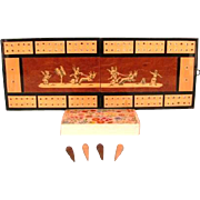 Vintage Italian Inlaid Folding Wood Cribbage Board