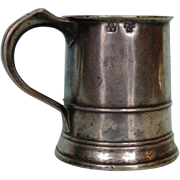 SOLD Early 19th Century English Pewter Pint Tavern Mug with Maker's Mark
