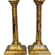 Mid-century Pair English Neo-classical Silverplate Candlesticks with Corinthian Capitals by Ol
