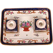 Antique French Hand-painted Porcelain Inkstand by Sampson, Paris